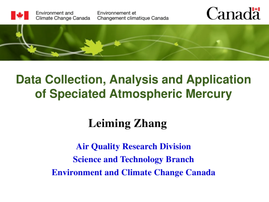 First page of Data Collection, Analysis and Application of Speciated Atmospheric Mercury