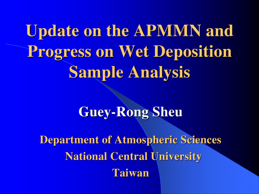 First page of Update on the APMMN and Progress on Wet Deposition Sample Analysis