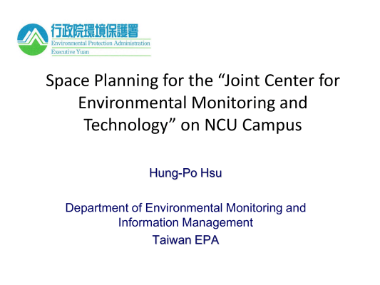 "First page of Space Planning for the ""Joint Center for Environmental Monitoring and Technology"" on NCU Campus"