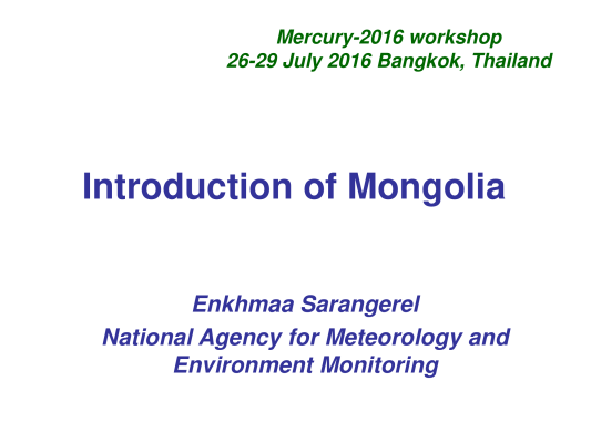 First page of Environmental Monitoring Network of Mongolia