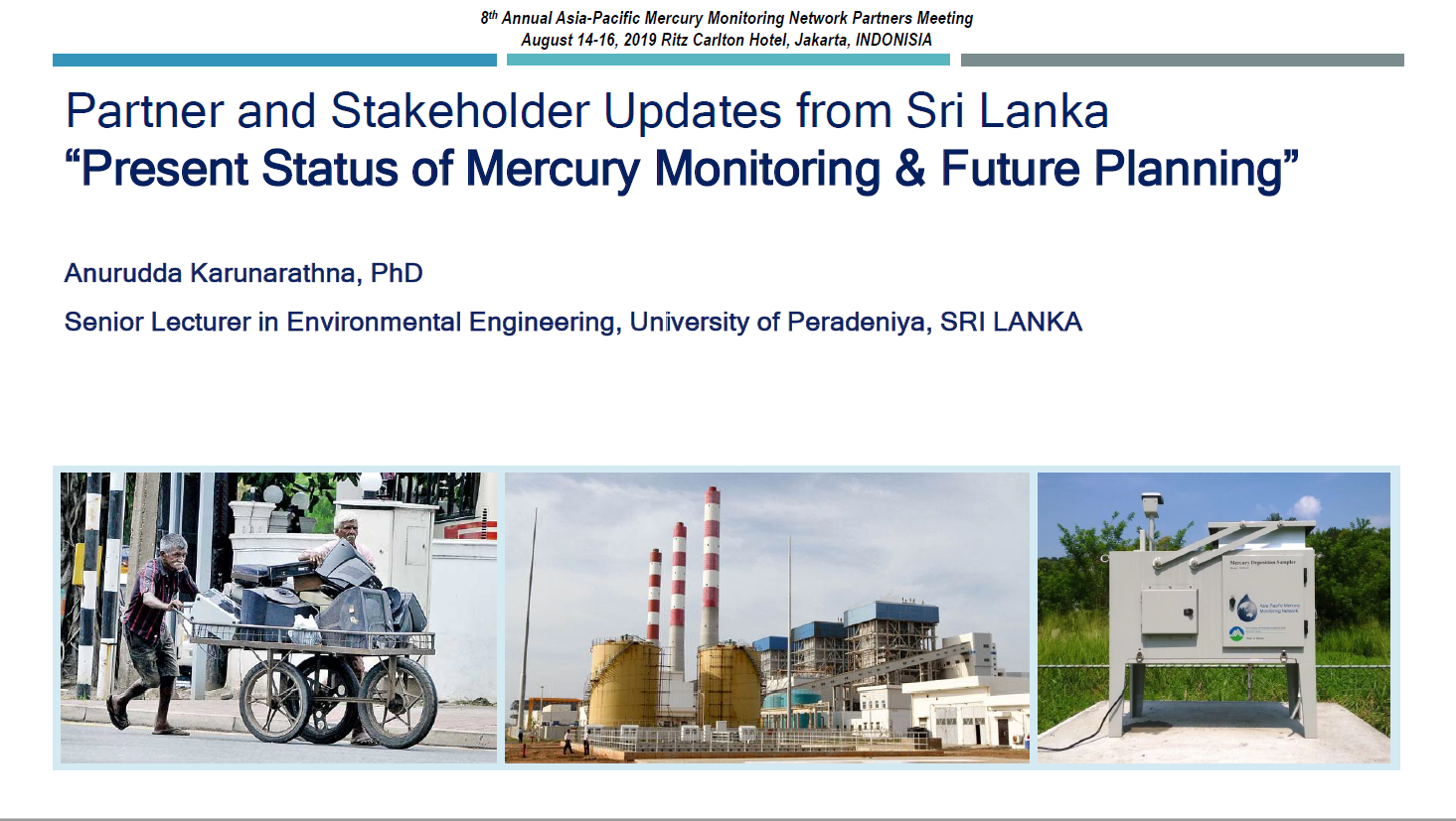 First page of Updates from Sri Lanka - Present Status of Mercury Monitoring & Future Planning