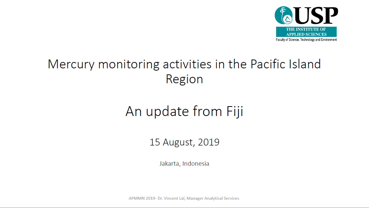 First page of Mercury monitoring activities in the Pacific Island Region - An Update From Fiji