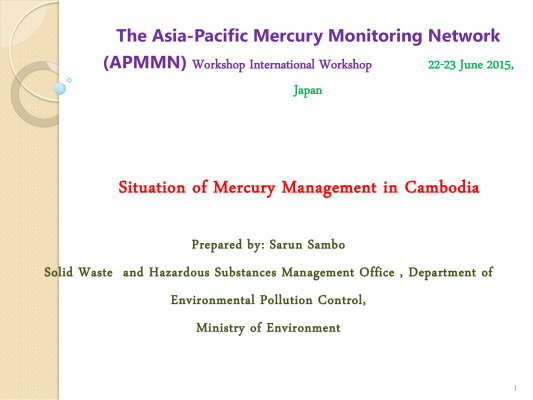 First page of Situation of Mercury Management in Cambodia