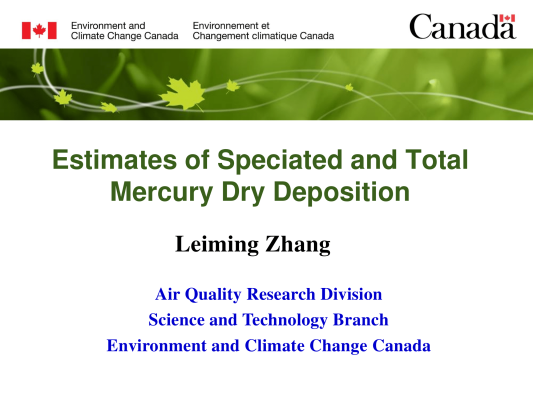 First page of Estimates of Speciated and Total Mercury Dry Deposition