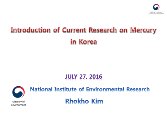 First page of Introduction of Current Research on Mercury in Korea