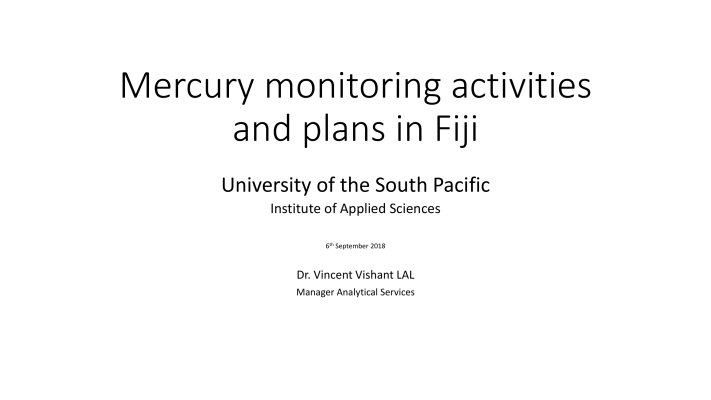 First page of Mercury monitoring activities and plans in Fiji