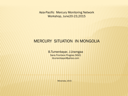 First page of MERCURY SITUATION IN MONGOLIA