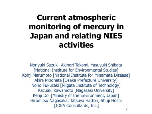 First page of Current atmospheric monitoring of mercury in Japan and relating NIES activities