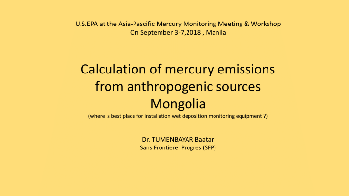First page of Calculation of mercury emissions from anthropogenic sources Mongolia
