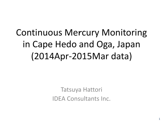 First page of Continuous Mercury Monitoring in Cape Hedo and Oga