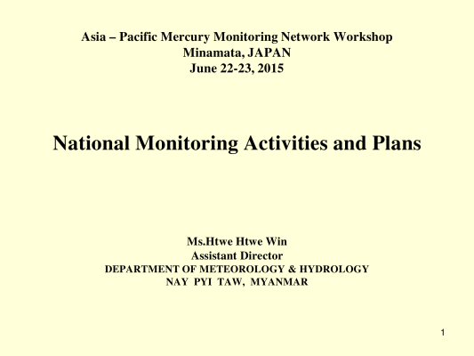 First page of National Monitoring Activities and Plans