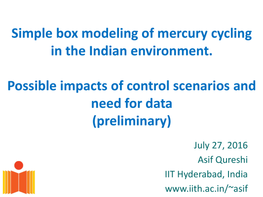 First page of Simple box modeling of mercury cycling in the Indian environment Possible impacts of control scenarios and need for data
