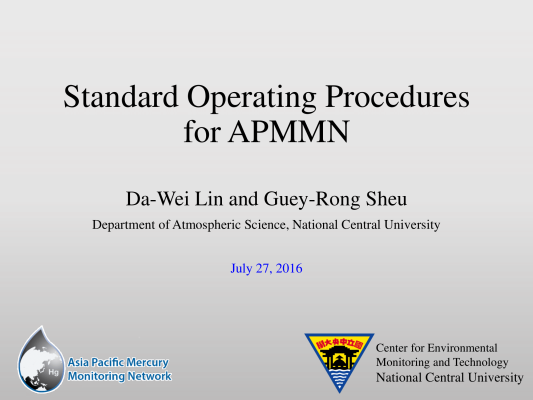 First page of Standard Operating Procedures for APMMN