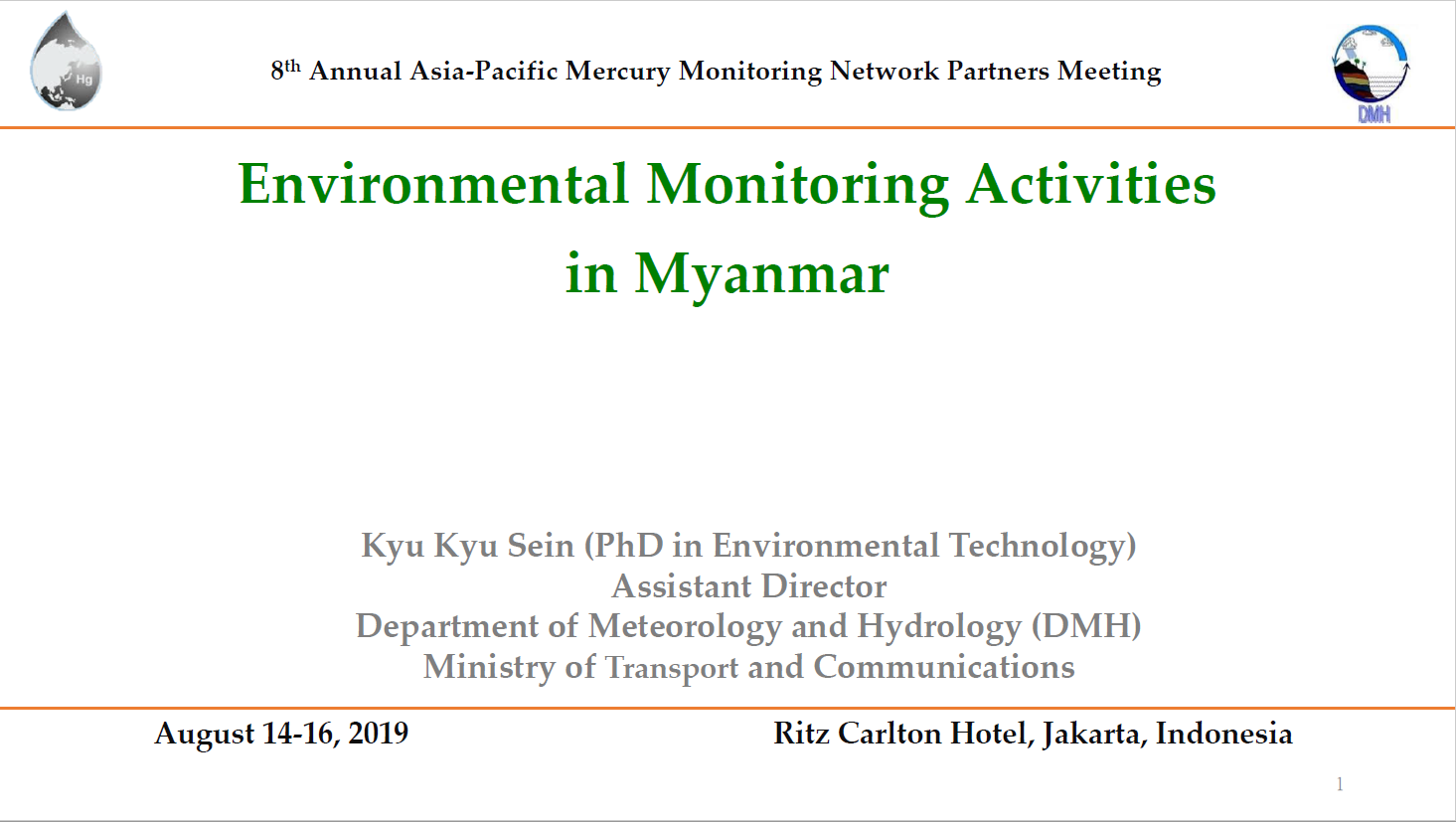 First page of Environmental Monitoring Activities in Myanmar