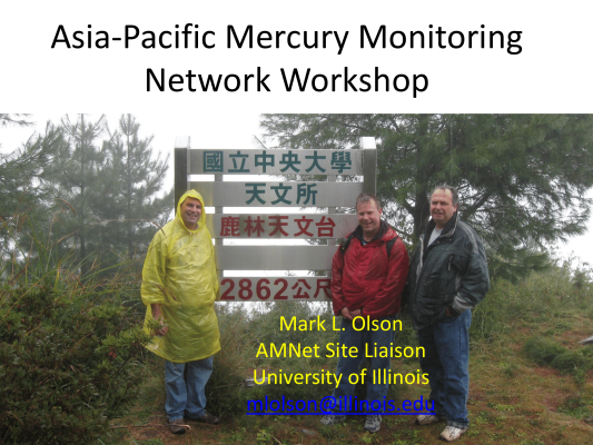 First page of Asia Pacific Mercury Monitoring Network Workshop