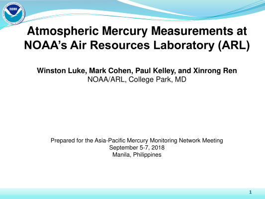 First page of Atmospheric Mercury Measurements at NOAAs Air Resources Laboratory (ARL)