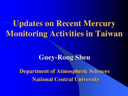 First page of Mercury Monitoring in Taiwan
