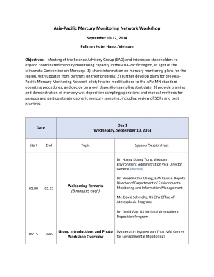 First page of Vietnam 2014 Workshop Conference Information