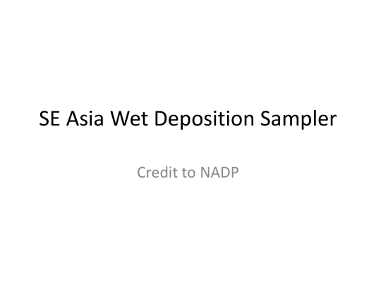 First page of SE Asia Wet Deposition Sample Train