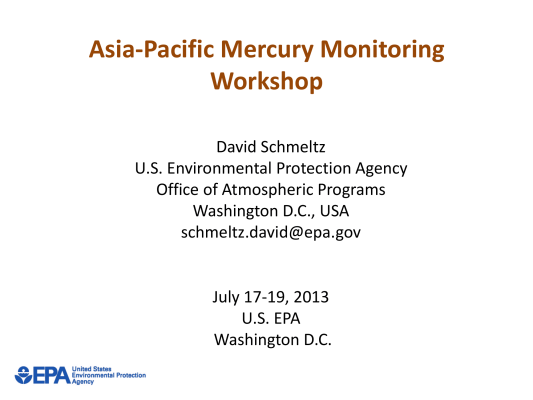 Firs page of USEPA Workshop Overview